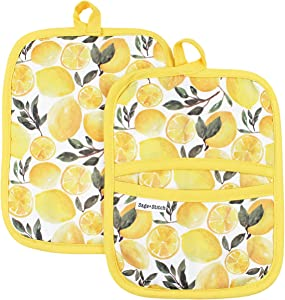 Sage and Stitch Kitchen Pot Holders for Women 7'' x 9'' with Hand Pockets and Hanging Loop, Dual Function Oven Mitt Trivet Potholder Hot Pad 100% Cotton, Heat Resistant Set of 2 - Yellow Lemons