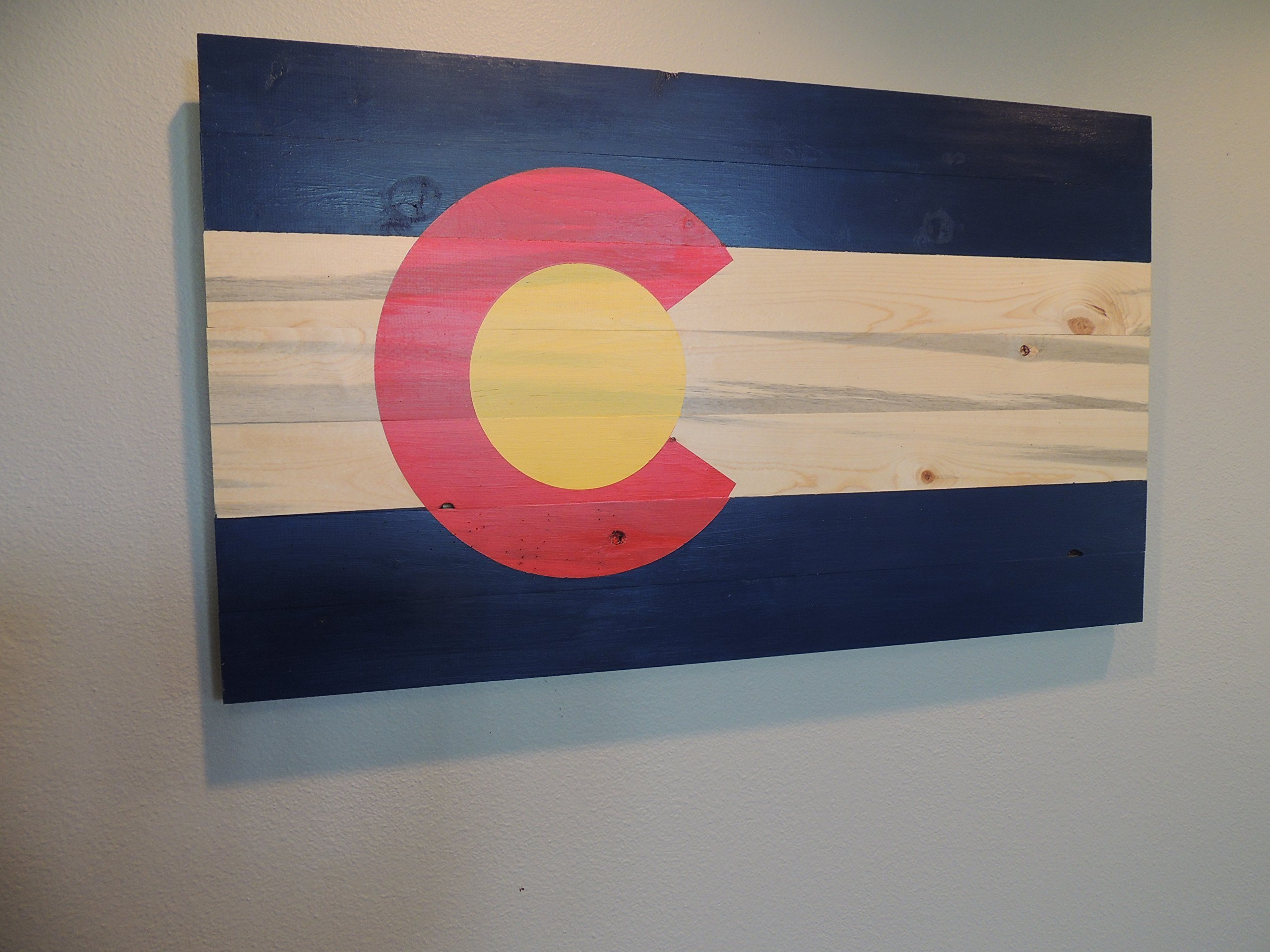Colorado Flag on Blue Pine Beetle Kill Wood 14'' x 24'' by Timber Sign Company (Image #2)