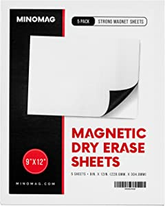 "Minomag Magnetic Dry Erase Sheets | Flexible Whiteboard with Refrigerator Magnet Backing for Restaurant, Warehouse, Locker Room, Kitchen, and Office (9""x12"", Set of 5)"