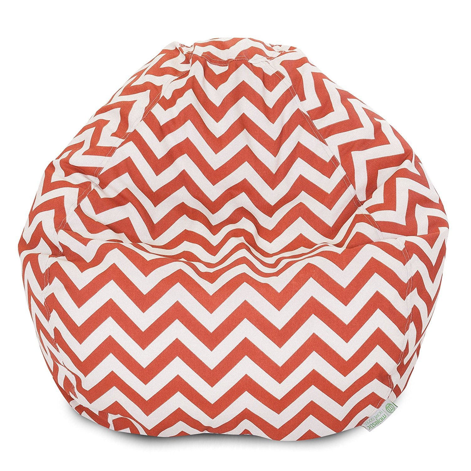 Majestic Home Goods Classic Bean Bag Chair - Chevron Giant Classic Bean Bags for Small Adults and Kids (28 x 28 x 22 Inches) (Burnt Orange