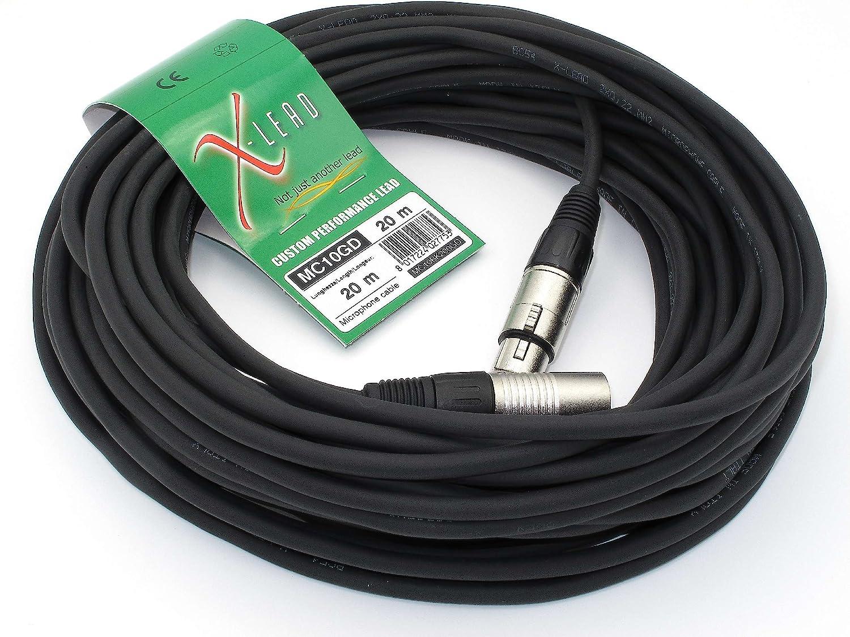 MADE IN ITALY By INCO X-LEAD MC10GD100BK s/érie GOLD 10 m, noir XLR//XLR C/âble sym/étrique C/âble pour microphone de qualit/é professionnelle connecteurs dorigine INCO -