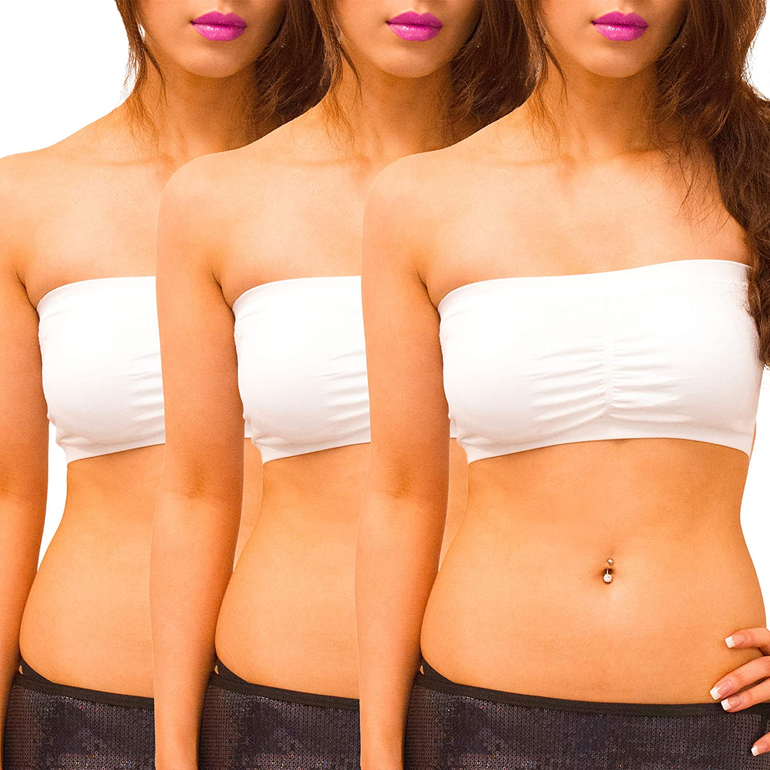 SODACODA ® 3-Pack - Seamless padded bandeau bra Boob Tube Strapless stretchy with removable Padding (White, S)