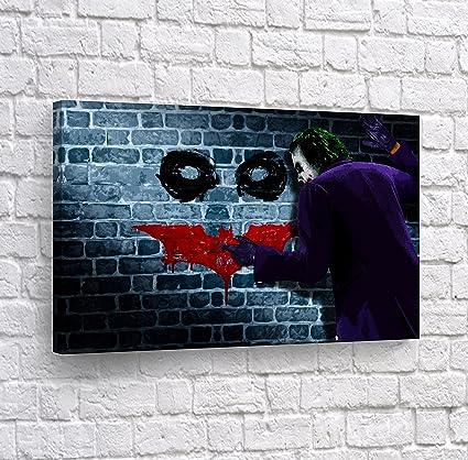 amazon com heath ledger joker batman logo blood paint canvas print