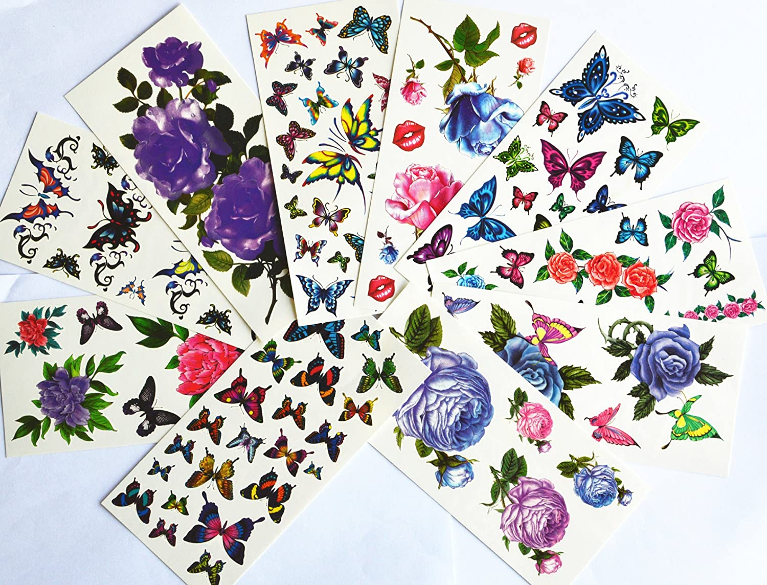 10pcs/package hot selling temporary tattoo stickers various designs including purple peony/blue and red roses/colorful flowers and butterflies/red lips/etc. supplier