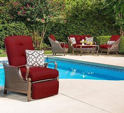 Hanover Outdoor Ventura Outdoor Luxury Recliner, Crimson Red