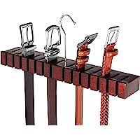 HOUNDSBAY Block - Updated Patent Pending Unique Design - Solid Mahogany Belt Holder Hanger & Belt Rack Organizer…