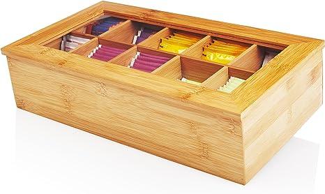 Imagen deLumaland Cuisine Caja de té de bambú con 10 Compartimentos de Aprox 36,7 x 20 x 9 cm Material sostenible práctico y Decorativo