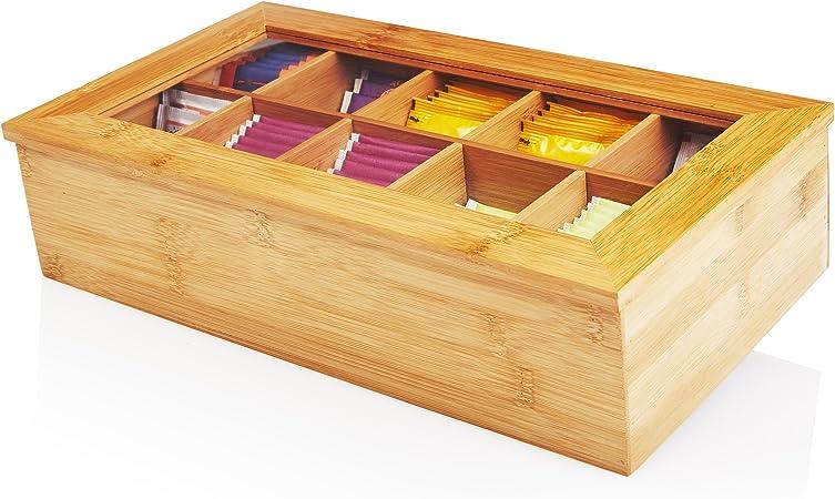 Lumaland Cuisine Caja de té de bambú con 10 Compartimentos de ...