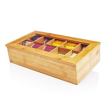 Lumaland Cuisine Caja de té de bambú con 10 compartimentos de aprox 36,7 x 20 x 9 cm material sostenible práctico y decorativo: Amazon.es: Hogar
