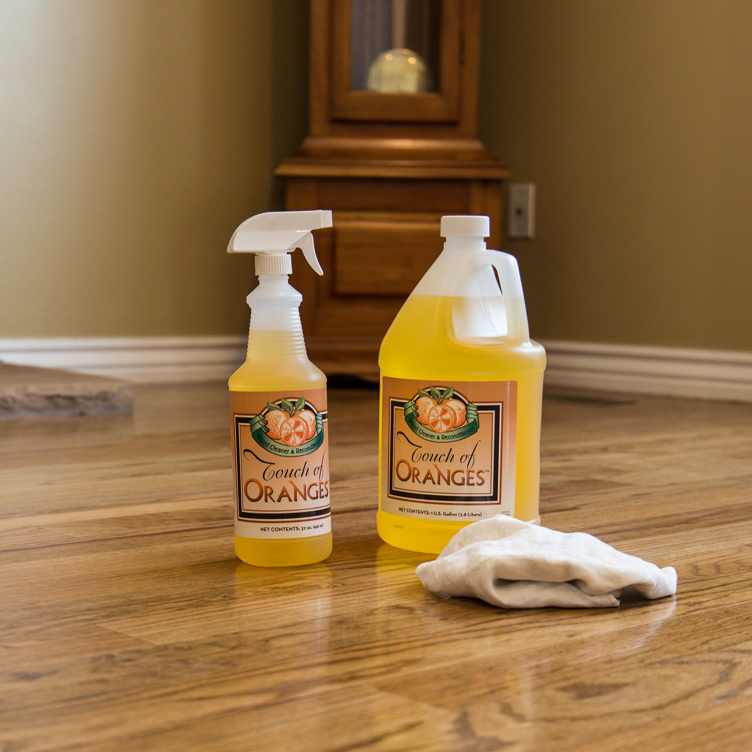 Wood Cleaner and Restorer for Hardwood Floor, Wood Furniture and Wood Cabinet Cleaner with Orange Oil (Gallon) by Touch Of Oranges (Image #7)
