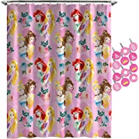 Jay Franco Disney Princess Sassy Shower Curtain & 12-Piece Hook Set & Easy Use - Kids Bath Set Features Belle & Cinderella (Official Disney Princess Product)