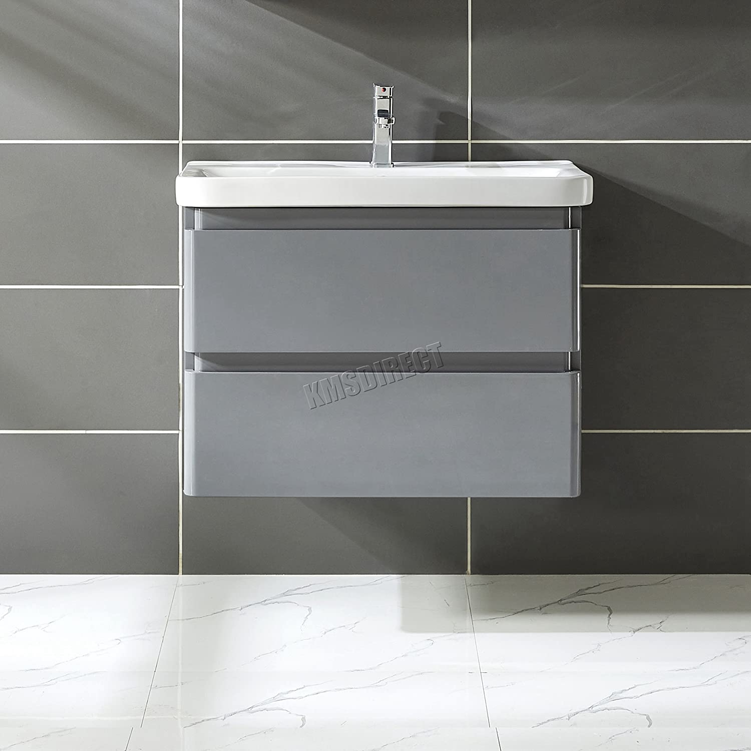 WestWood Modern Vanity Unit 80CM MDF High Gloss Wall Hung With 2 drawers Basin Sink Bathroom Cloakroom Cabinet Storage Cupboard Furniture VU02 Grey KMS