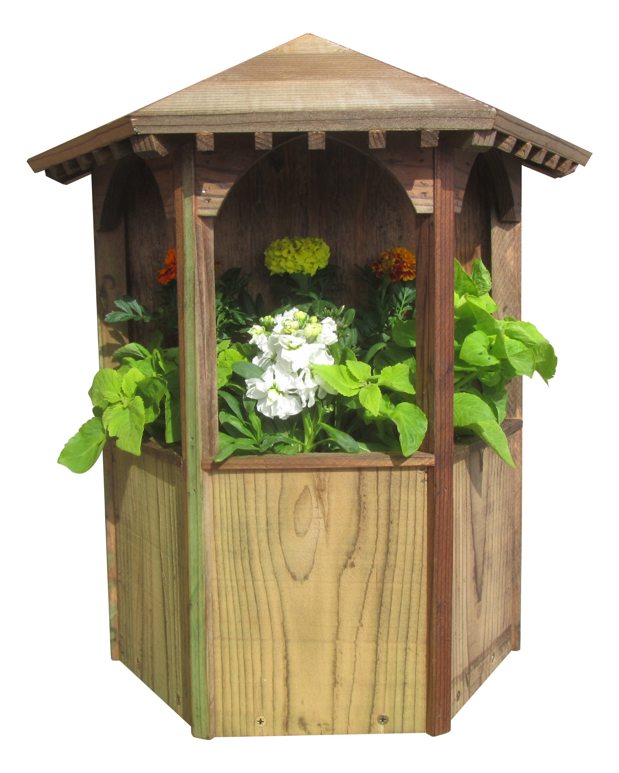 SamsGazebos Wall Mount English Garden Style Wood Gazebo Planter with Decorative Roof, 19-1/2 by 19 by 9-Inch, Brown by SamsGazebosTM
