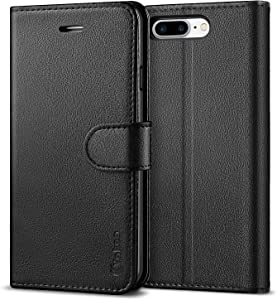 Vakoo for iPhone 7 Plus Case, [Premium Leather] iPhone 8 Plus Case with Wallet [Card Slots] [Magnetic Closure] Phone Flip Cover for iPhone 7 Plus/8 Plus - Black