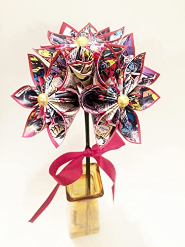 Amazon 5 comic book paper flowers you choose the comic 5 comic book paper flowers you choose the comic colors origami gift mightylinksfo
