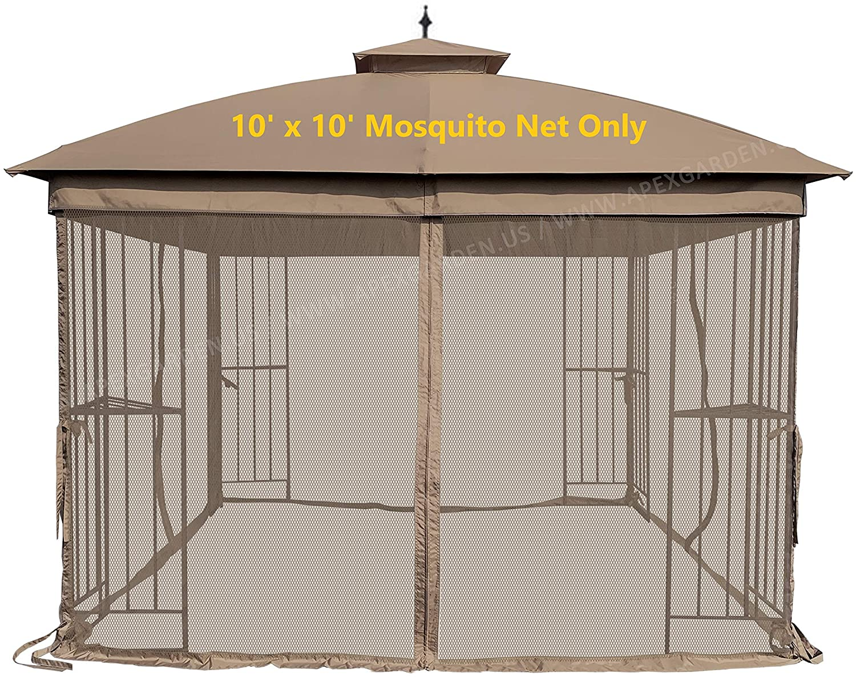 APEX GARDEN Universal 10' x 10' Mosquito Netting for Gazebo Replacement- Tan