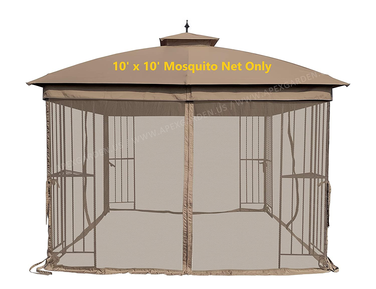 APEX GARDEN Universal 10' x 10' Gazebo Replacement Mosquito Netting (Mosquito Net Only, Size: 10 ft x 10 ft)