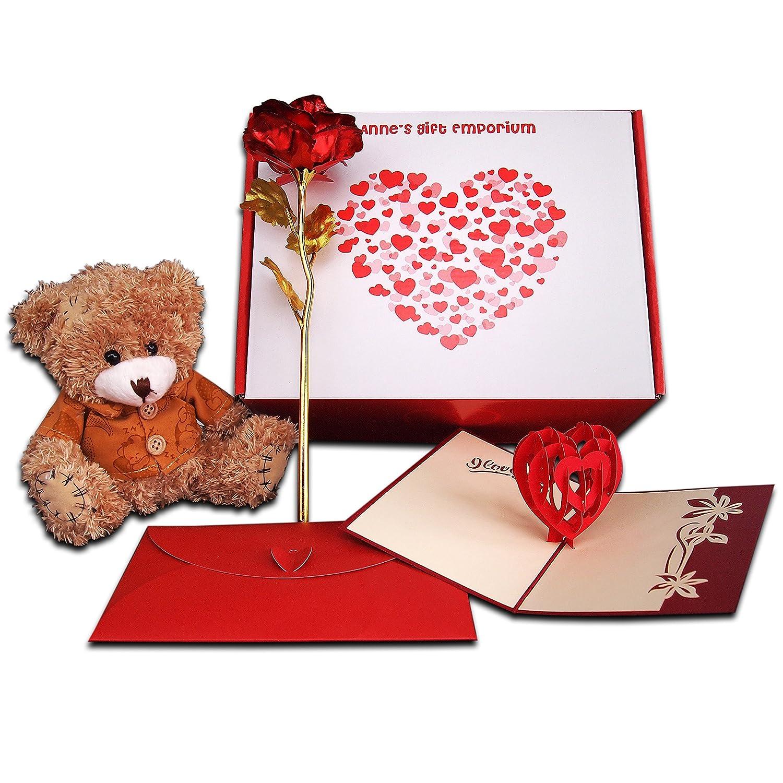 """Biglietto di auguri romantico con scritta """"I love you"""" [in lingua inglese], con rosa rossa placcata oro 24k, delizioso orsacchiotto e pop up a cuore 3D, set con busta con chiusura a cuore vintage, kirigami realizzato a mano, regalo per lei per san Valentin"""