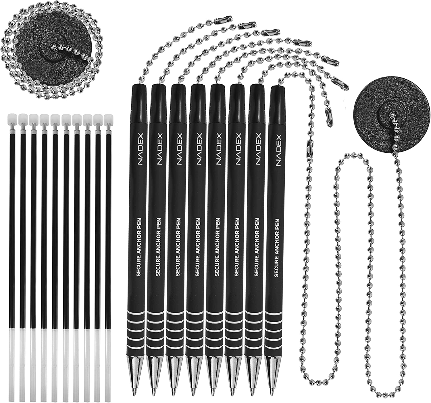 1 Adhesive Mount and 5 Refills Nadex Ball and Chain Security Pen Set 4 Pens Black