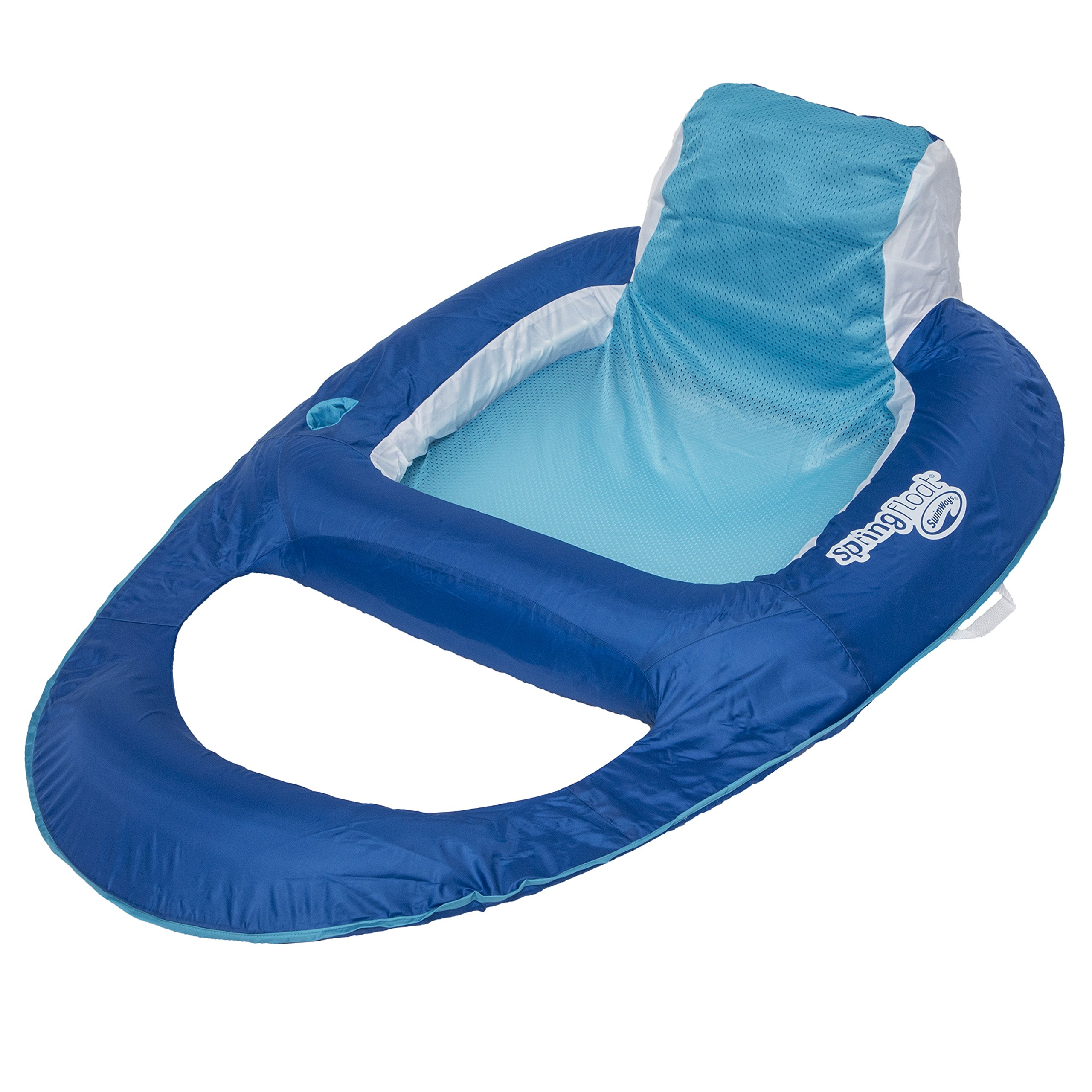 SwimWays Spring Float Recliner - Swim Lounger for Pool or Lake - Dark Blue/Light Blue by SwimWays