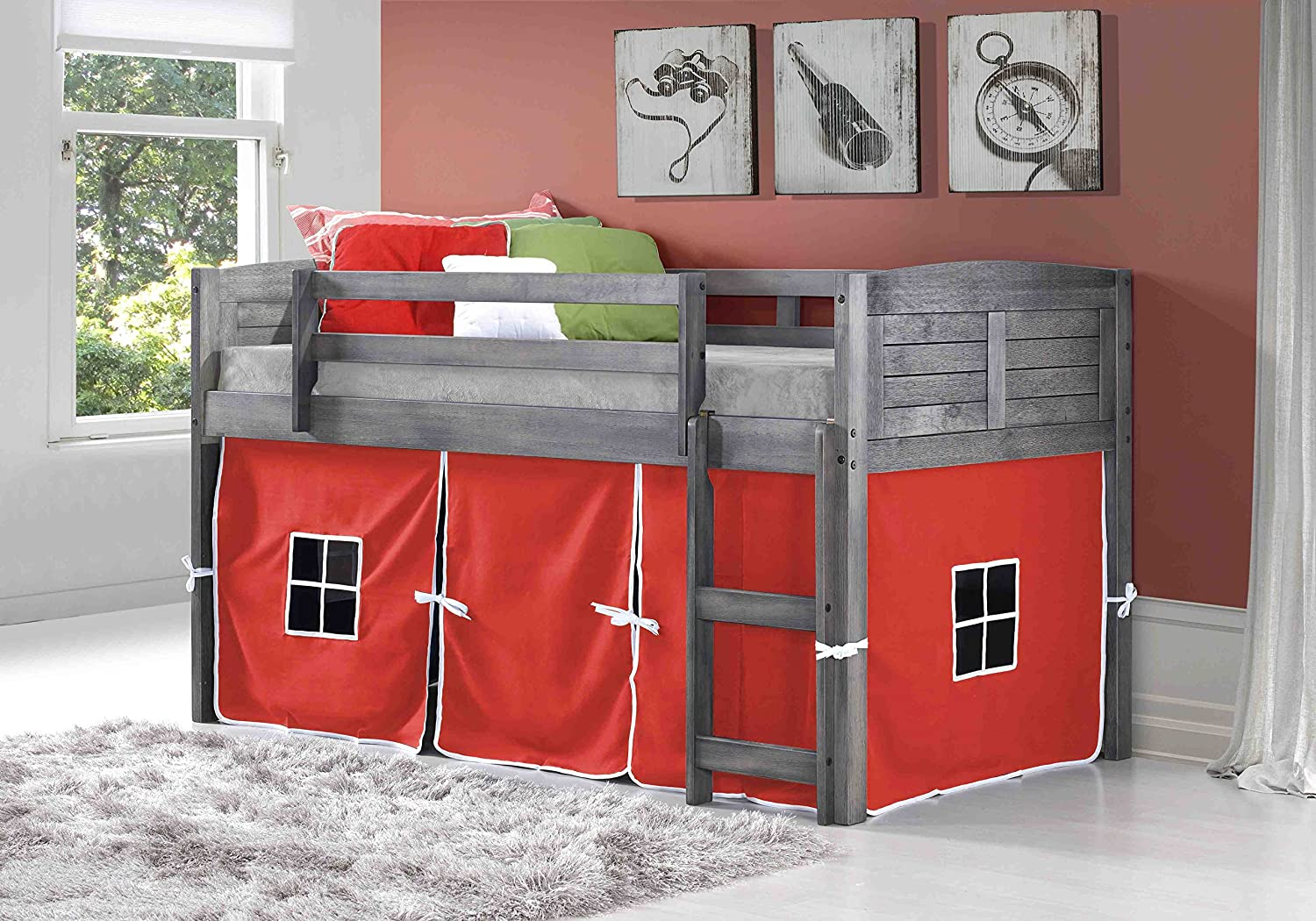 Amazon.com: Donco Kids 795-ATW-750C-TR Louver Low Loft Bed with Red Tent, Twin, White: Kitchen & Dining