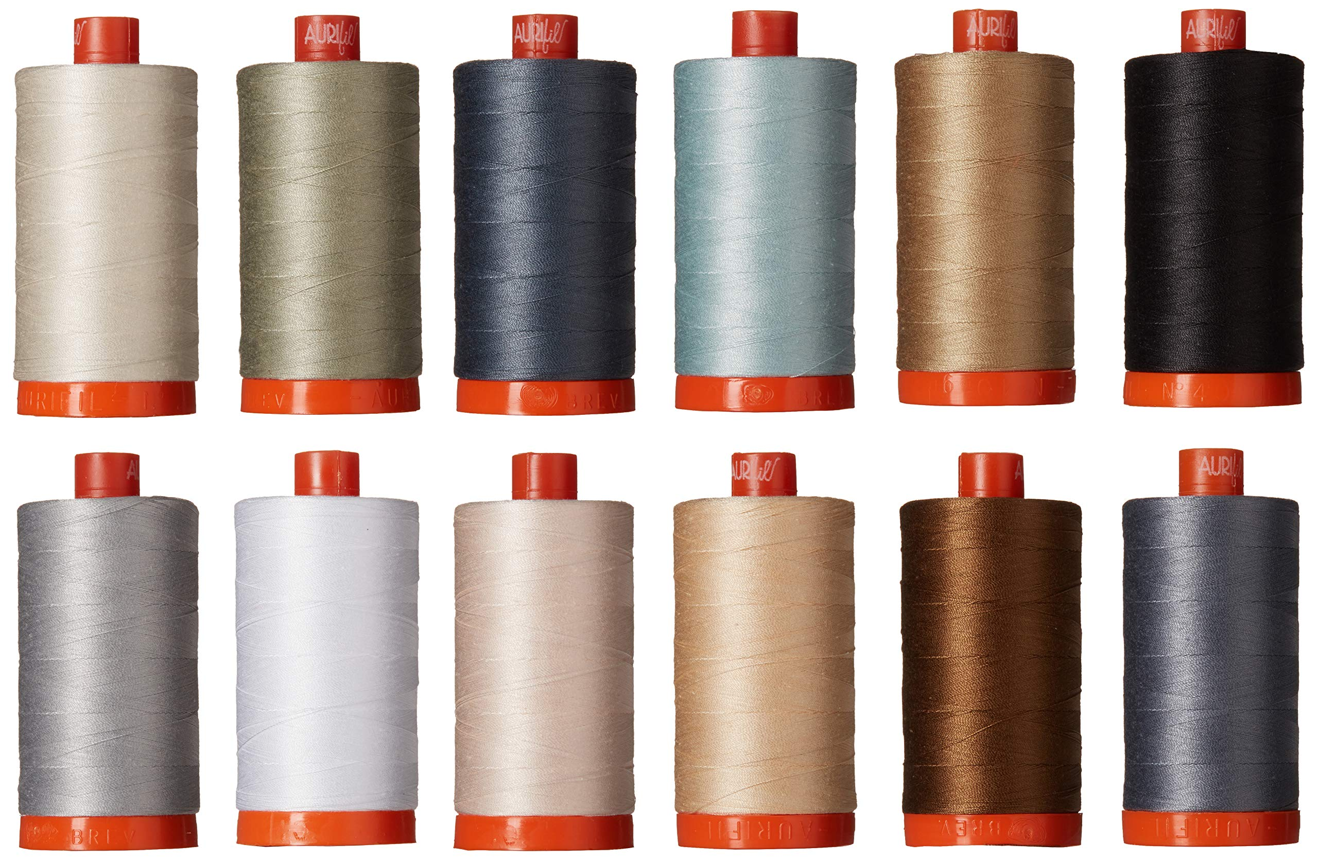 Christa Quilts Piece and Quilt Neutrals Aurifil Thread Kit 12 Large Spools 50 Weight CW50PQN12 by Aurifil