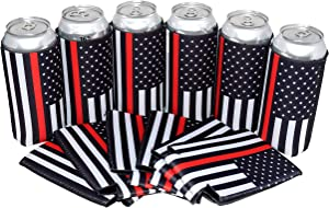 QualityPerfection 6 Can Cooler Sleeves - 16 oz Neoprene Black Flag Red Line - Tall Beer Drink Coolies - Compatible with 16 oz Rockstar, Monster,Coor's, Bud Light - Set of 6 (Firefighter, 6)