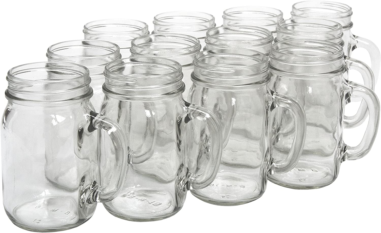North Mountain Supply Glass Pint Mug Handle Mason Drinking Jars - Case of 12