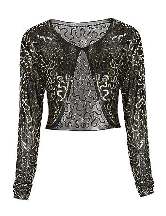 af2ed68c PrettyGuide Women Clubwear Mesh Sequin Long Sleeve Sparkly Evening Bolero  Shrug Gold XL/US14-16: Amazon.co.uk: Clothing