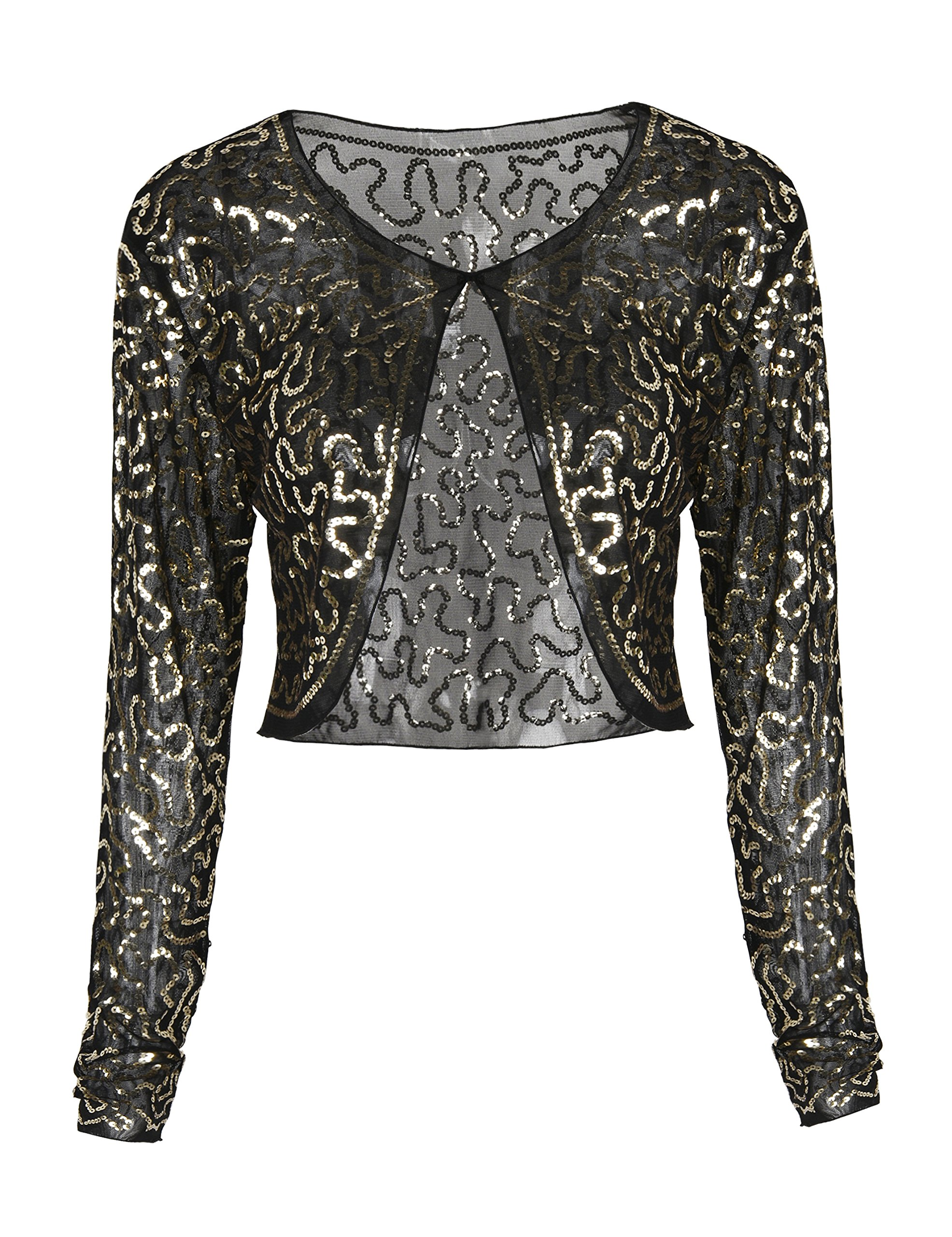 PrettyGuide Women Sequin Cardigan Long Sleeve Glitter Bolero Clubwear Gold S/US4-6