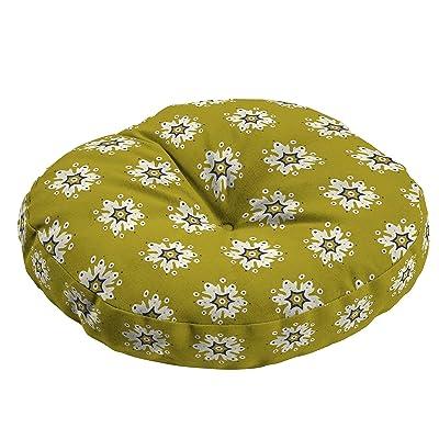 Medallion Round Bistro Seat Cushion Yellow Geometric Traditional Polyester: Home & Kitchen