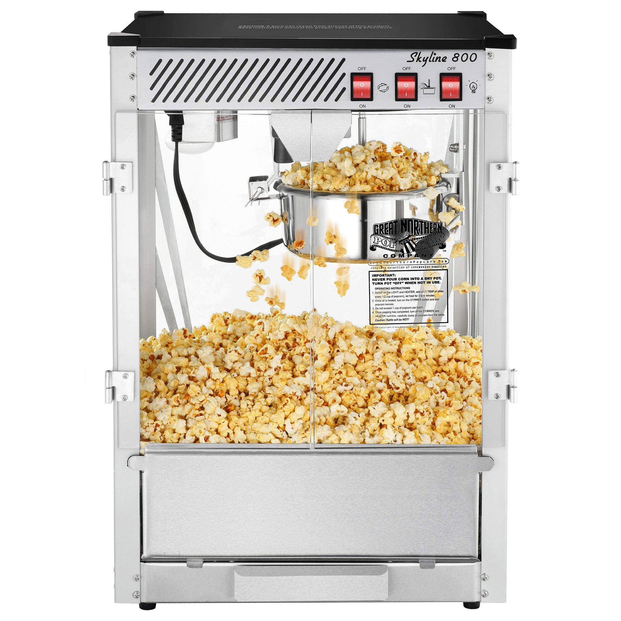 6200 Great Northern Popcorn Bar Style Popcorn Popper Machine Commercial,  8 oz