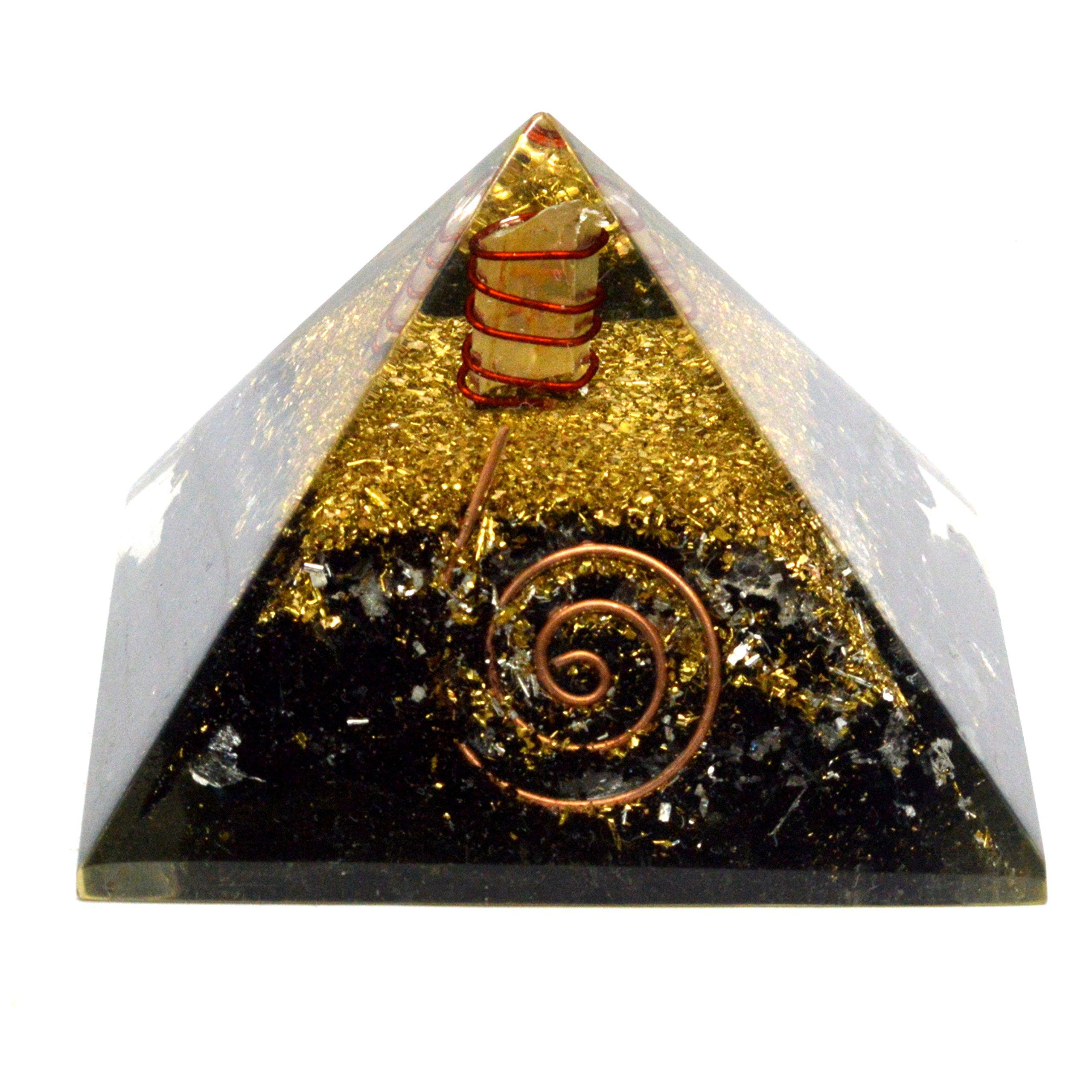 Healing Crystals India Black Tourmaline Orgonite Pyramid Energy Charged Reiki Healing Semi Precious Gemstone Free eBook about Crystal Healing (2.5''inch - Orgone)