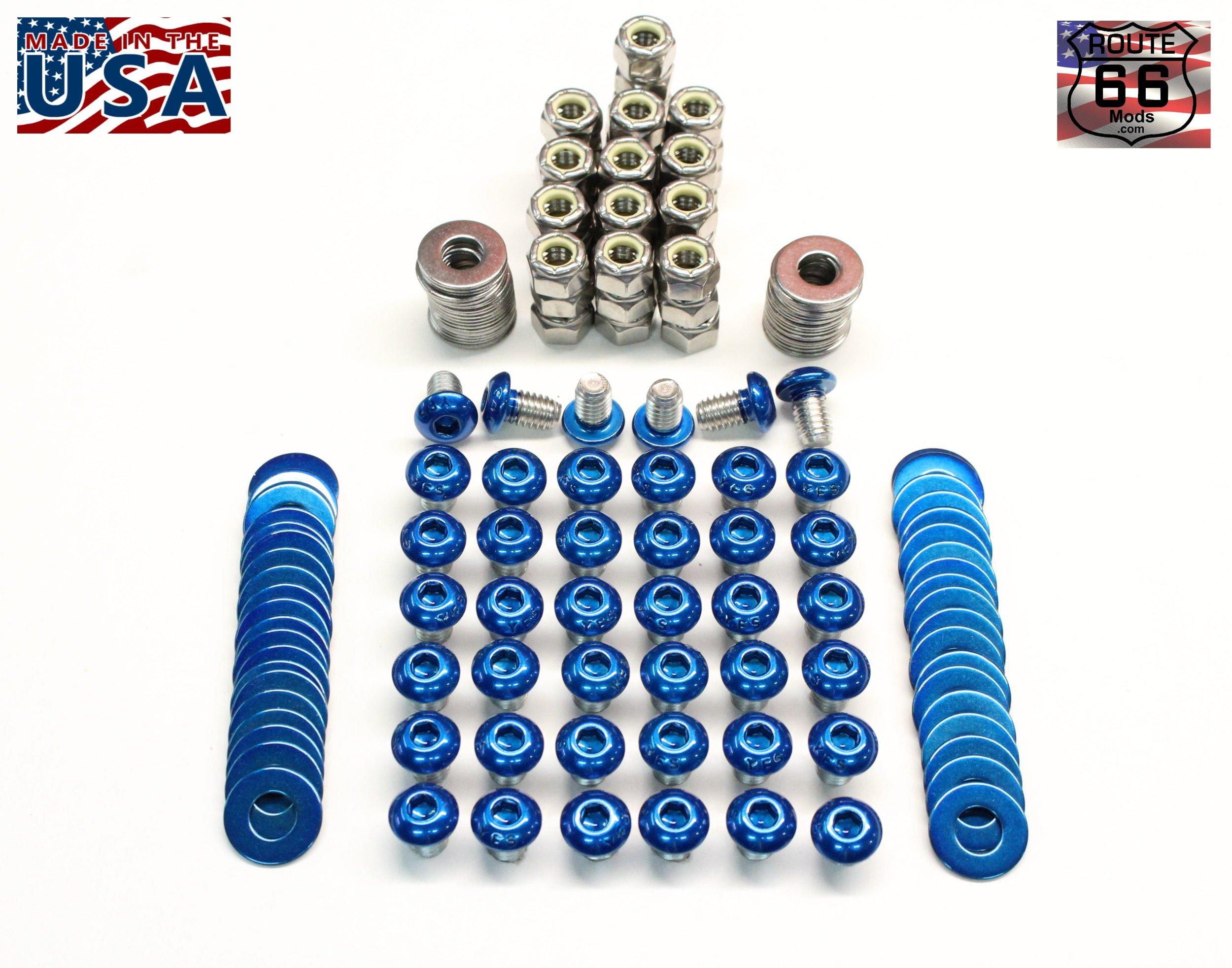 Route66Mods Powder Coated Screw/Bolt Set-Kit for Fender Flares - Pocket/Rivet Style Hardware (Candy Blue)