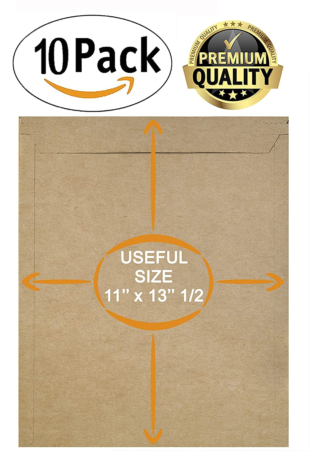 No Bend documents Peel and Seal Photo Large Size Photography Mailers ABC 10 Pack Natural Kraft Stay Flat Mailers 11 x 13.5 Brown Chipboard envelopes 11 x 13 1//2 Prints Rigid Paperboard mailers