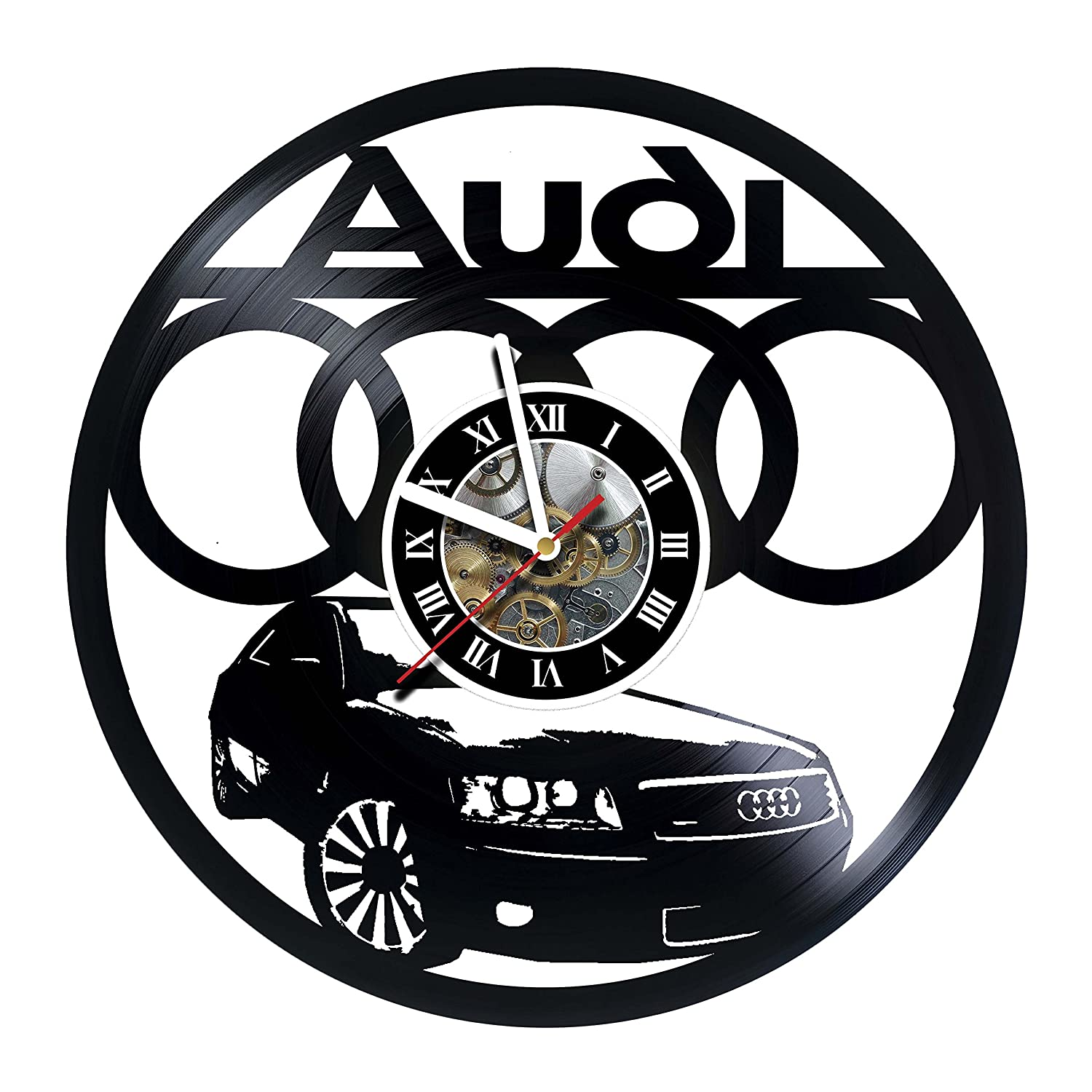 women Wall Clock Made of Vinyl Record AUTOMOBILE AUDI men Handmade Unique Original Art Design anniversary friends girlfriend boyfriend and teens wedding Great gifts idea for birthday