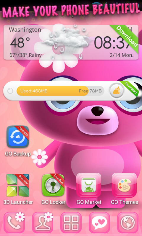 amazon com cute pink go launcher theme appstore for android