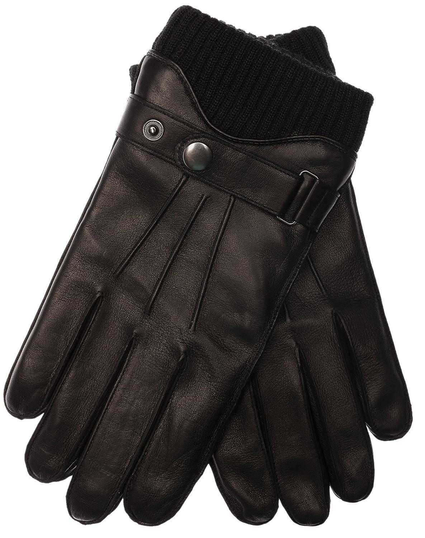 EEM Touchscreen Lederhandschuhe HARRISON für Herren mit Riegel und Wollstrickbund 1522MIPins-PARENT