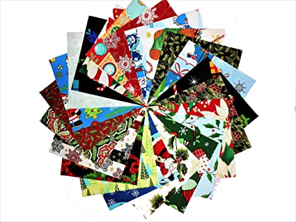 """CHRISTMAS PATCHWORK QUILTING FABRIC SQUARES CHARMS 100/% COTTON  PACK OF 50 x 4/"""""""
