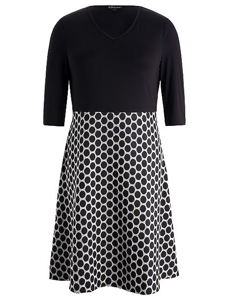 Chicwe Mujeres Tallas Grandes Vestido con V Cuello Elástica Camiseta Negra y Falda Corte en A