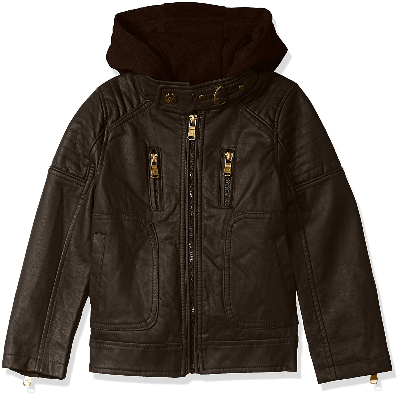 Amazon.com: London Fog Boys' Faux Leather Bomber Jacket With Hood ...
