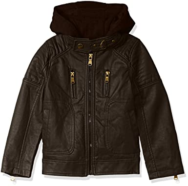 6ce91a26a3ca3 Urban Republic Boys' Little Faux Leather Jacket with Fleece Lined Hood,  Brown ...