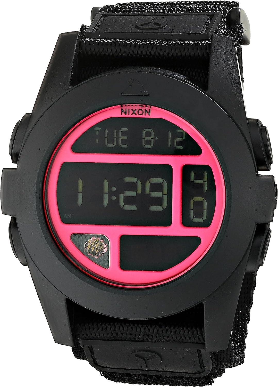Nixon A489480 Baja Black Bright Pink Chrono Digital Dial Nylon Band Men Watch