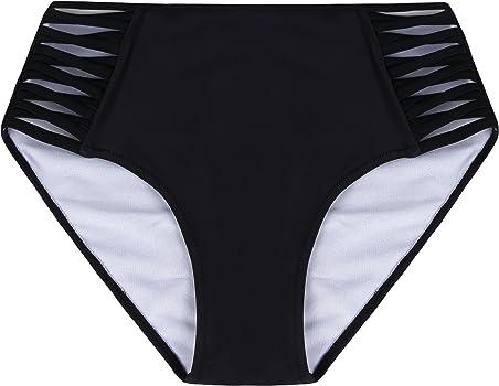 Angerella Mujeres Vintage Traje de Baño Bikini Bottom Side Strapped Shorts Swimming Brief