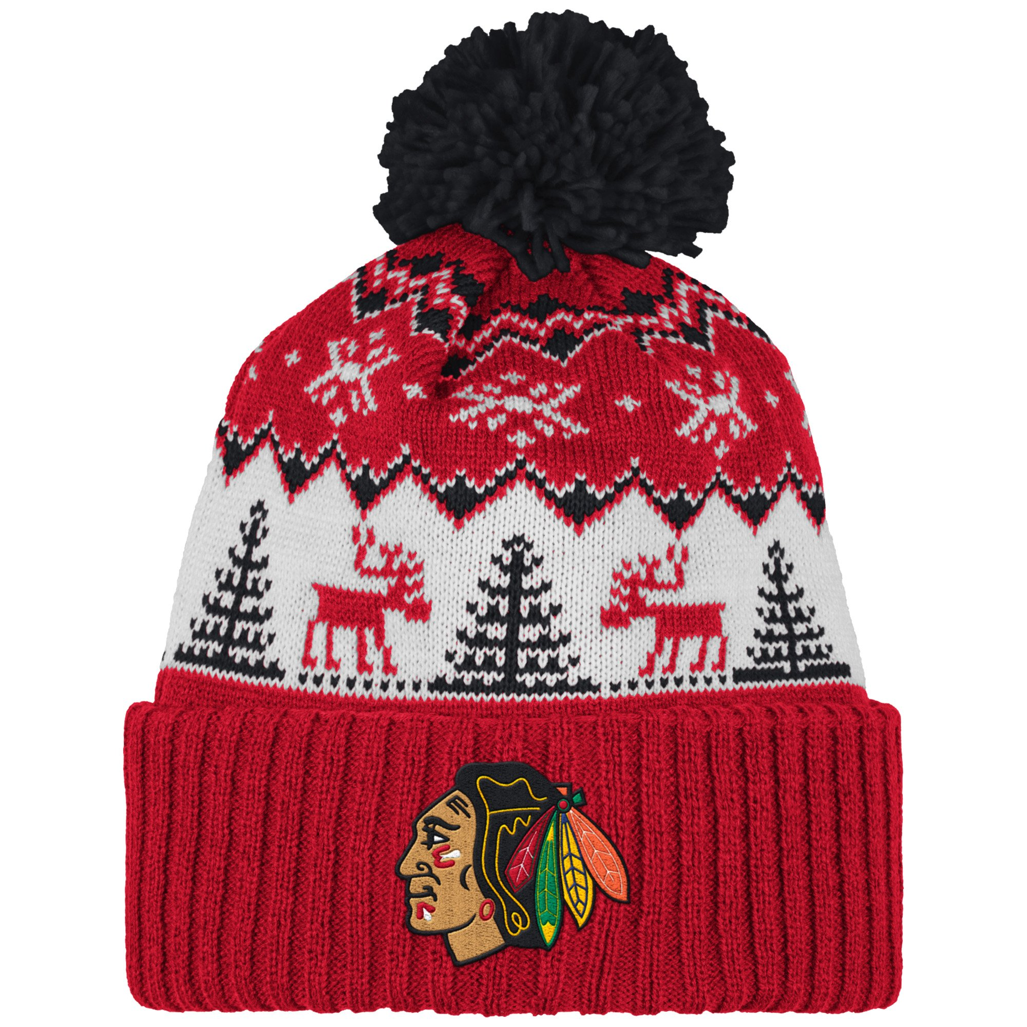 NHL Chicago Blackhawks Reindeer Cuffed Pom Knit, One Size, Red