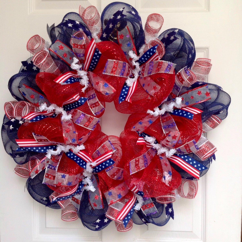 patriotic wreaths for front doorAmazoncom Red White Blue Patriotic Wreath Handmade Deco Mesh