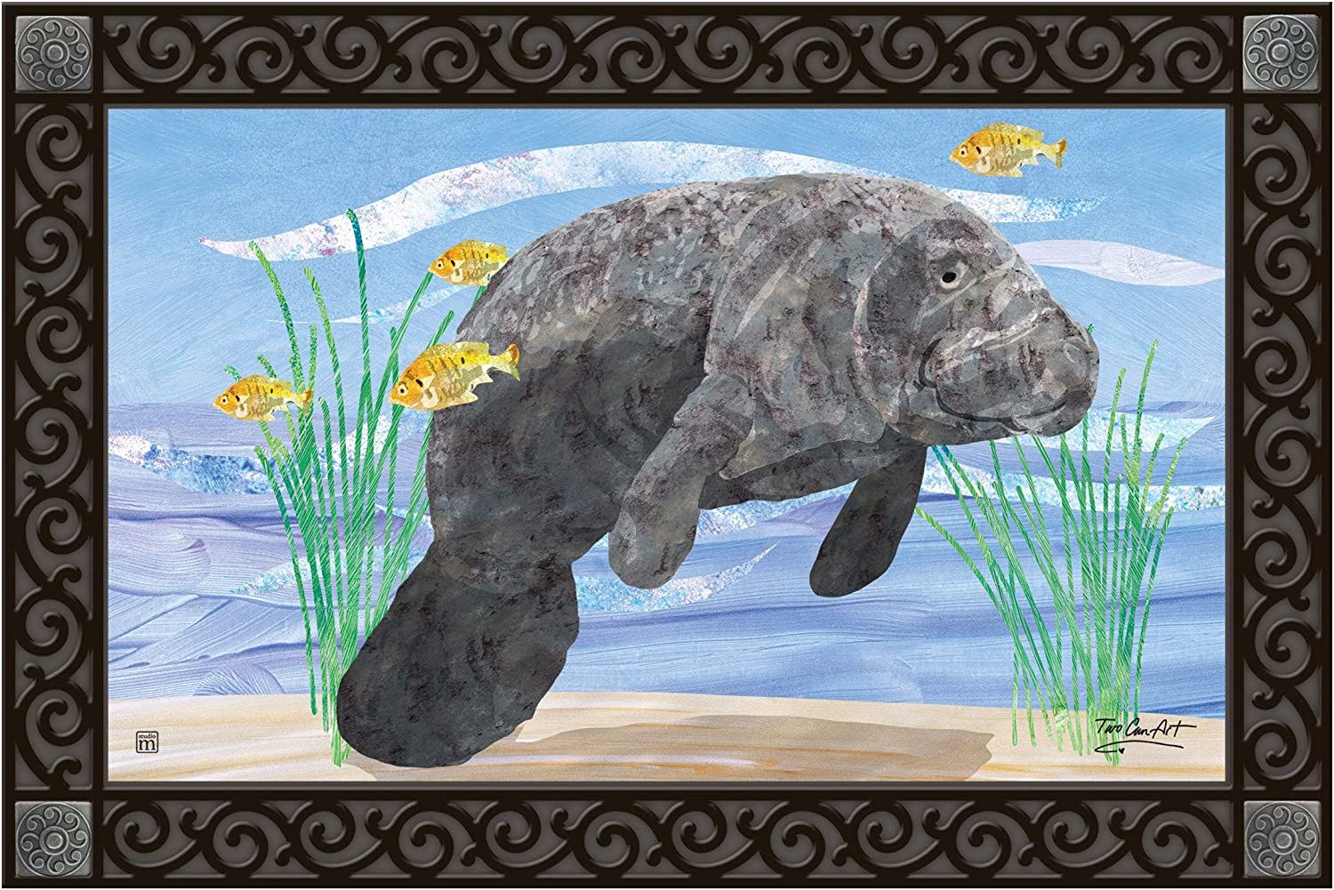 Studio M MatMates Manatee Decorative Floor Mat Indoor or Outdoor Doormat with Eco-Friendly Recycled Rubber Backing, 18 x 30 Inches