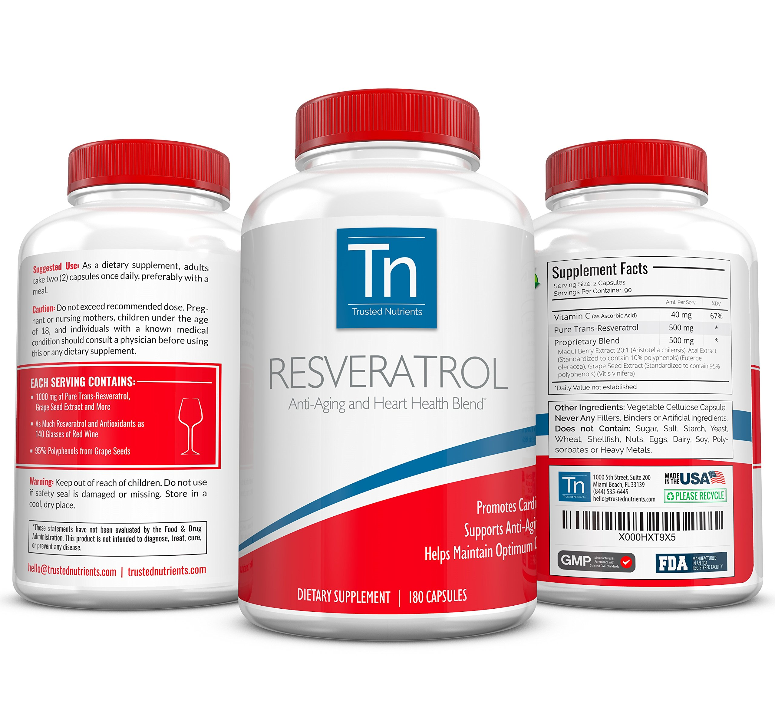 Trusted Nutrients 100% Pure Resveratrol, 1000 mg, 3X 180 Count: Special Anti-Aging Blend with Trans-Resveratrol, Grape Seed Extract (Standardized to Contain 95% Polyphenols), Acai, and More!