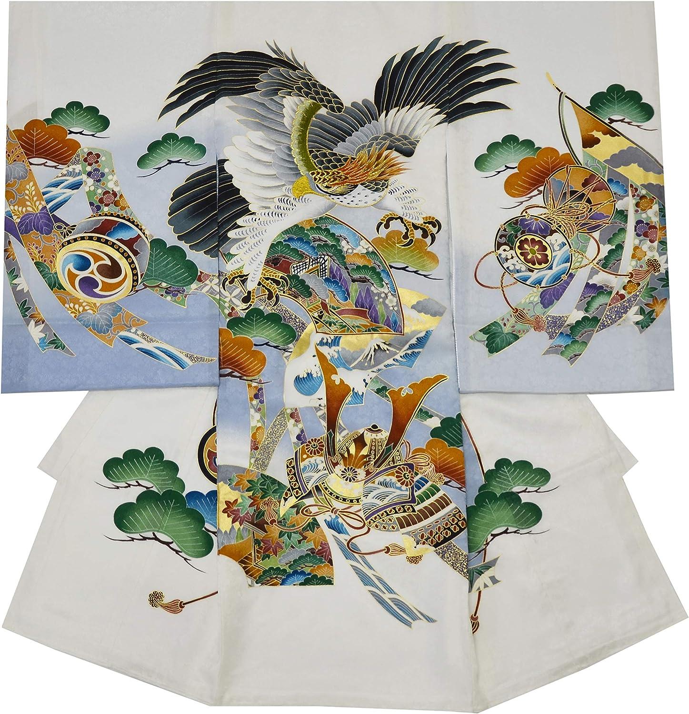 お宮参り 着物 男の子 初着 産着 正絹 鷹 几帳 白 男児 祝着 のしめ 着物タウン 3360-01488