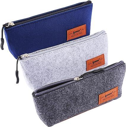 Ipow fieltro estuche, papelería bolsa de almacenamiento con cremallera bolsas de cosméticos para bolígrafo, moneda, pequeño artículo, juego de 3: Amazon.es: Oficina y papelería